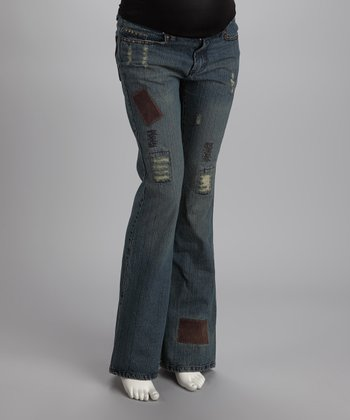 Light Wash Distressed Maternity Jeans