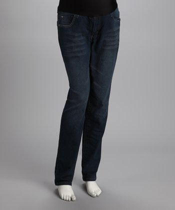 Blue Rhinestone Pocket Maternity Jeans