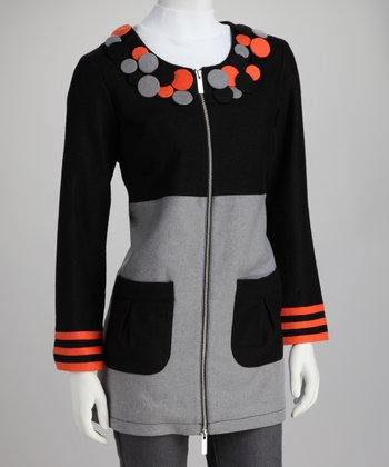 Gray & Black Color Block Wool-Blend Coat