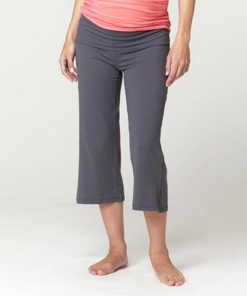 Charcoal Under-Belly Maternity Capri Pants - Women
