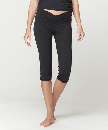 Black Outlast Fit Maternity Capri Pants