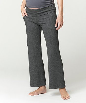 Charcoal Leisure Under-Belly Maternity Cargo Yoga Pants - Women