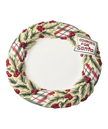 Plaid Christmas Cookies Plate