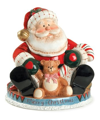Fireplace Santa Cookie Jar