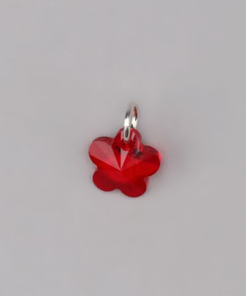 Red Flower Charm Made With SWAROVSKI ELEMENTS