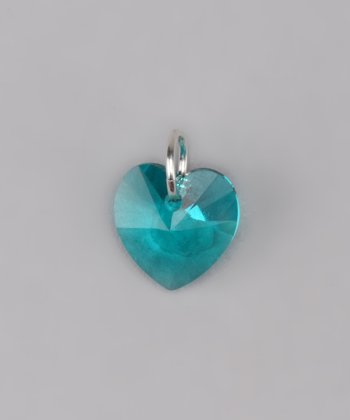 Blue Zircon Heart Charm Made With SWAROVSKI ELEMENTS