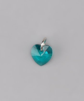 Blue Zircon Tiny Heart Charm Made With SWAROVSKI ELEMENTS