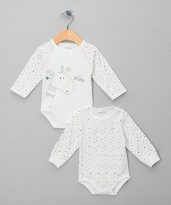 White Skye Polka Dot Giraffe Bodysuit Set