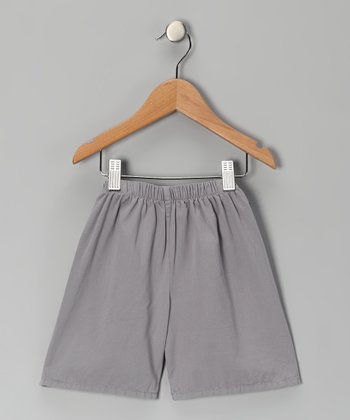 Silver Brushed Twill Shorts - Toddler & Boys