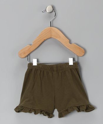 Army Green Ruffle Shorts - Infant & Toddler