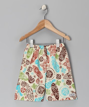 Brown Kon Tiki Surf Swim Trunks - Toddler