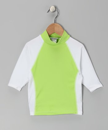 White & Lime Island Rashguard - Toddler & Boys