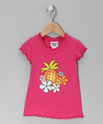 Magenta Hanalei Floral Lettuce-Edge Tee - Infant, Toddler & Girls