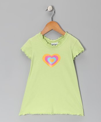 Mint Yellow Heart Lettuce-Edge Tee - Girls