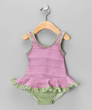 Rose Pencil Stripe Skirted One-Piece - Infant