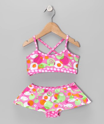 Flap Happy Mod Fish Skirted Bikini - Toddler & Girls