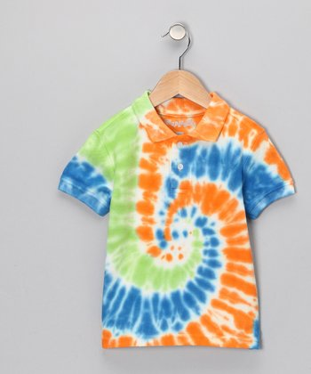 Orange & Blue Tie-Dye Polo - Toddler & Boys