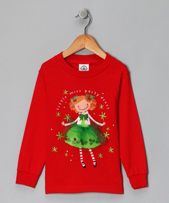 Red 'Little Miss Party Dress' Tee - Toddler & Girls