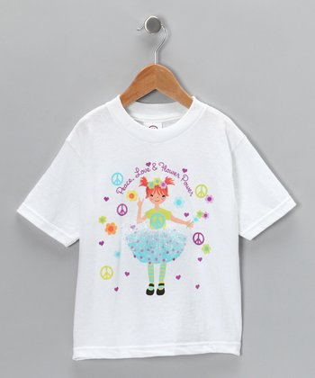 White 'Flower Power' Tee - Toddler