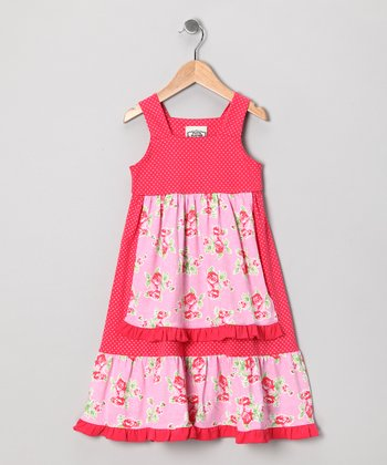 Pink & Red Frances Apron Dress - Toddler & Girls