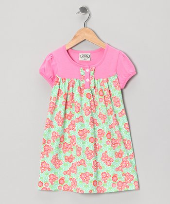 Mint Green & Pink Georgianne Betsy Dress - Infant & Toddler