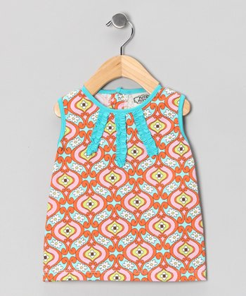Turquoise & Orange Maggie Ruche Dress - Infant