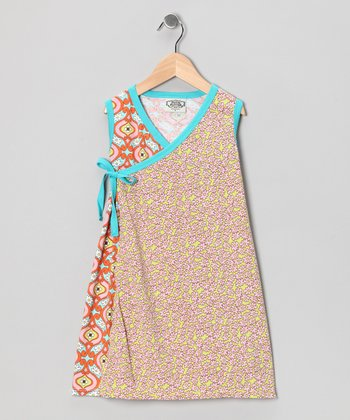 Turquoise & Orange Maggie Wrap Dress - Girls