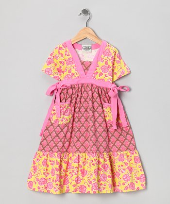 Pink & Yellow Parker Miss Priss Dress - Toddler & Girls