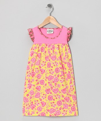 Pink & Yellow Parker Robin Dress - Toddler & Girls
