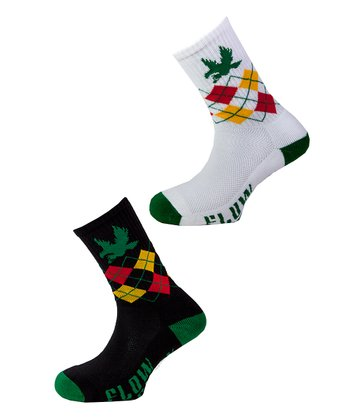 White & Black Dark Argyle Socks Set