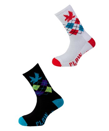 White & Black Bright Argyle Socks Set