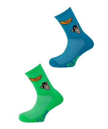 Lime & Turquoise Monkey Socks Set