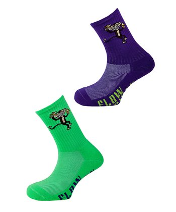 Lime & Purple Monkey Sock Set