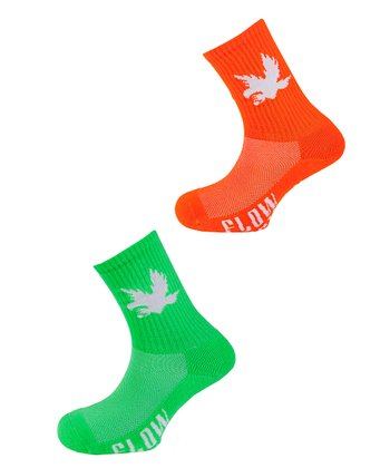 Neon Orange & Green Bird Socks Set