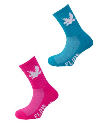Ruby Pink & Turquoise Bird Socks Set