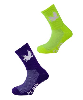 Neon Yellow & Purple Bird Socks Set