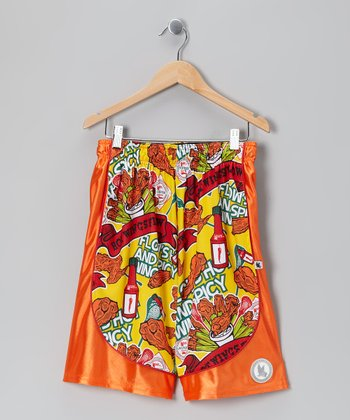 Red 'Hot Wings' Dazzle Shorts - Boys