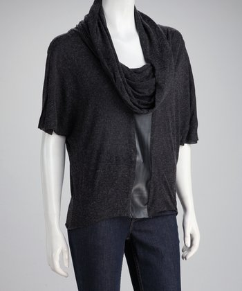 Charcoal Cowl Neck Wool-Blend Top