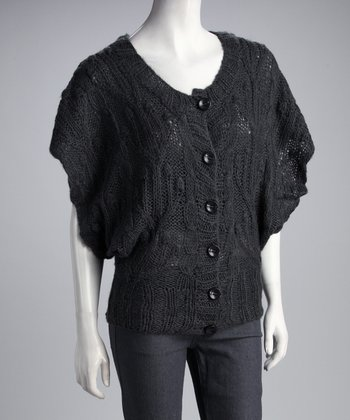 Charcoal Cape-Sleeve Cardigan