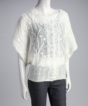 Ivory Cape-Sleeve Cardigan