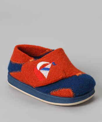 Navy & Orange Lexter Wool Slipper