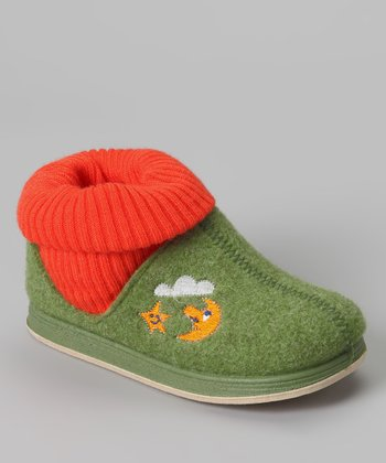 Green & Orange Max Wool Slipper