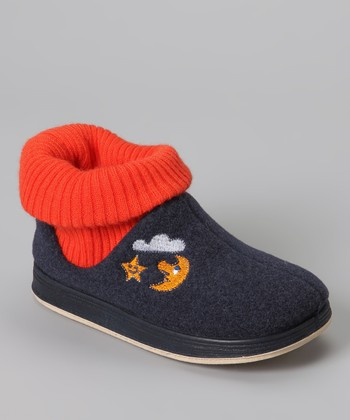 Navy & Orange Max Wool Slipper