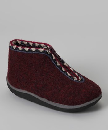 Burgundy Scooter Wool Slipper