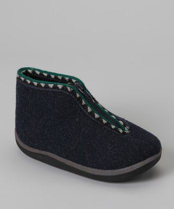 Navy Scooter Wool Slipper