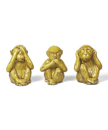 Pear Ceramic Monkey Figurine Set