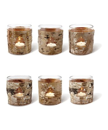 Birch Bark Tree Votive Set