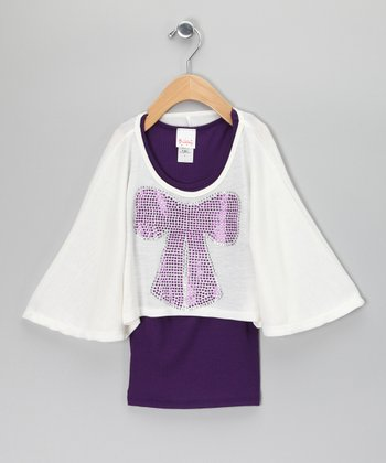 Purple & Ivory Cape-Sleeve Top & Tank
