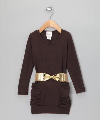 Brown Ruched Belted Tunic