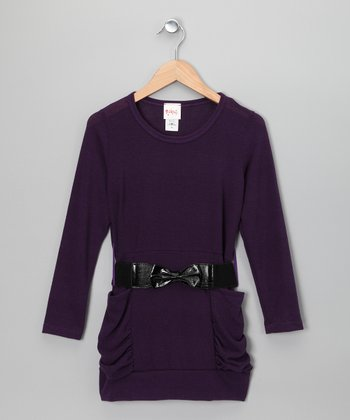 Purple Ruched Belted Tunic